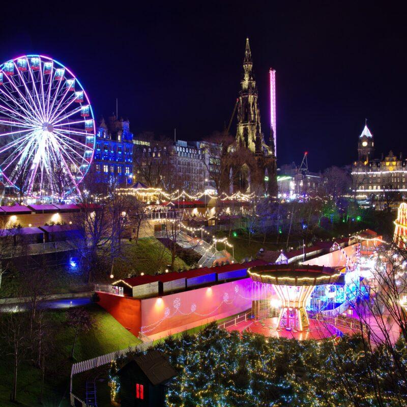 The Christmas Market in Edinburgh, Scotland.
