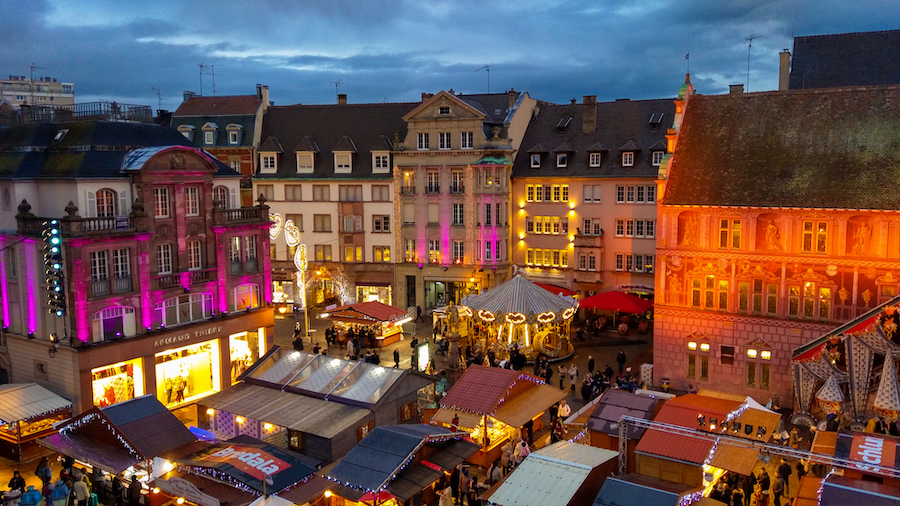 The Christmas market in Mulhouse, France.