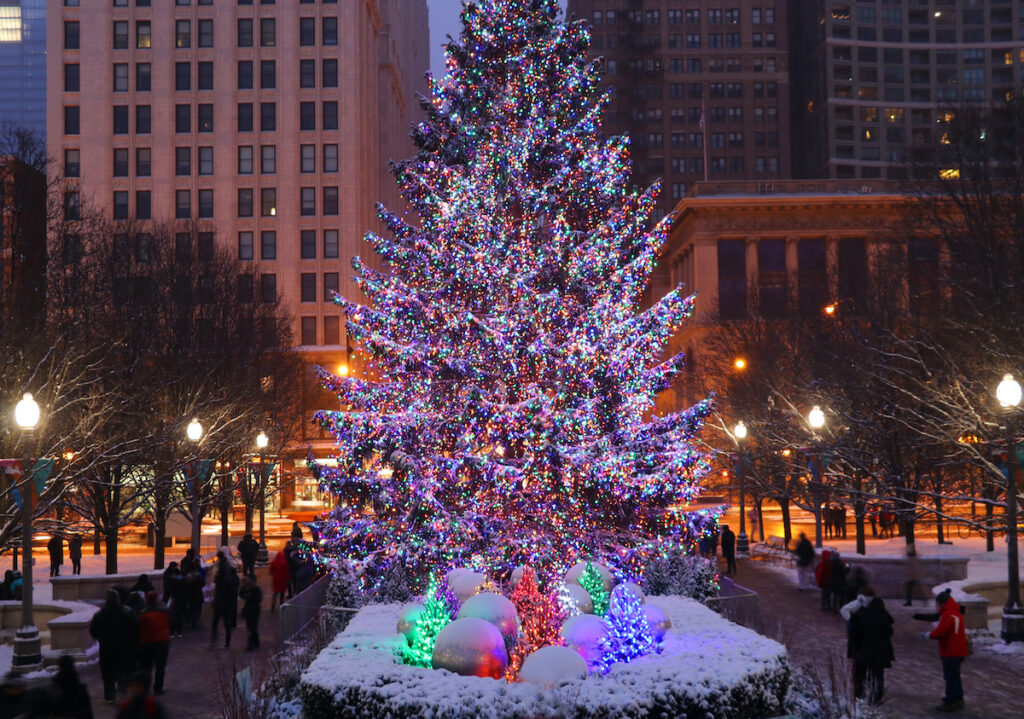 The Christmas tree in Chicago's Millennial Park.