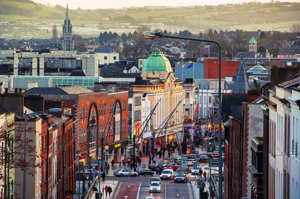 The city center of Cork, Ireland.