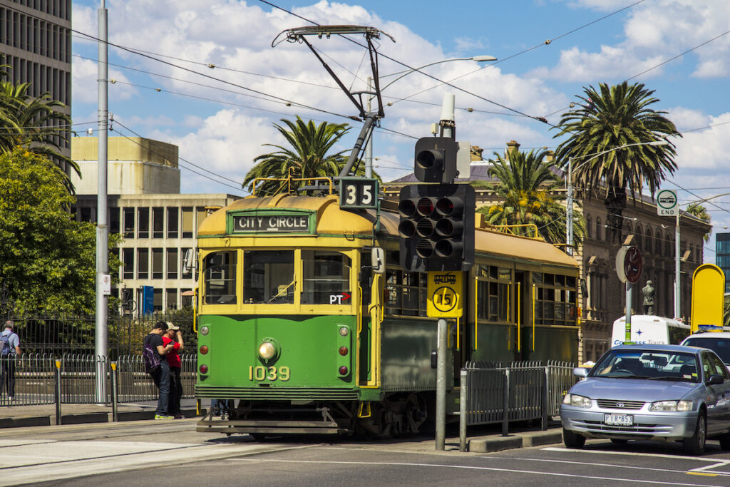 The City Circle Tram in Melbourne, Australia.