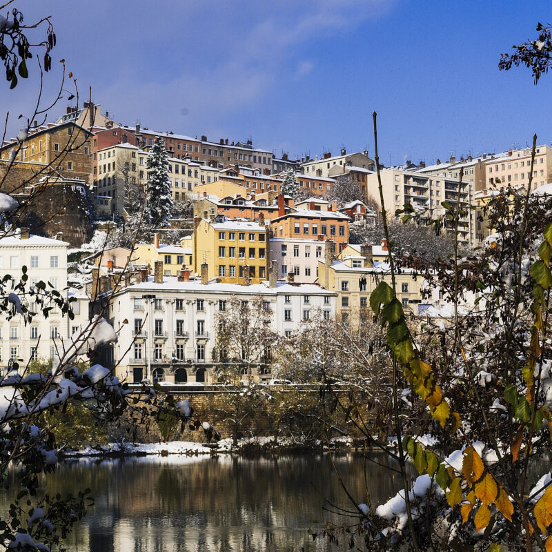 The city of Lyon, France during winter.