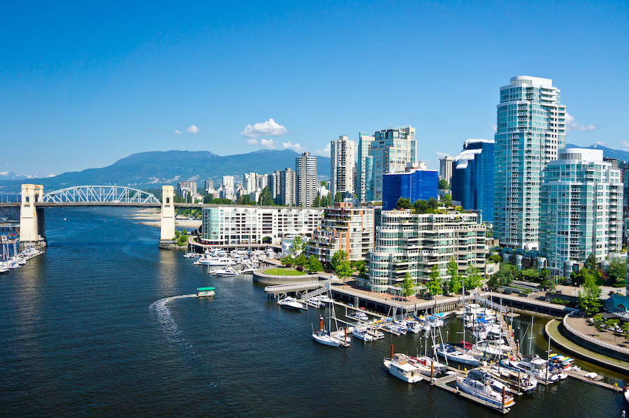 The city of Vancouver in British Columbia, Canada.