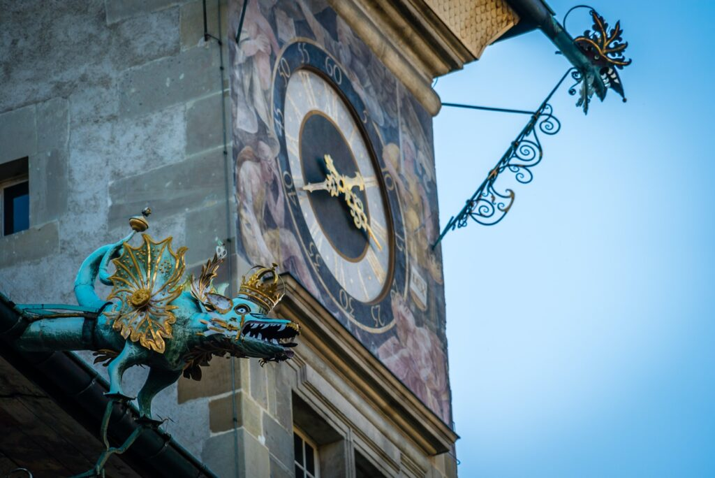 The clock on Lausanne's Town Hall.