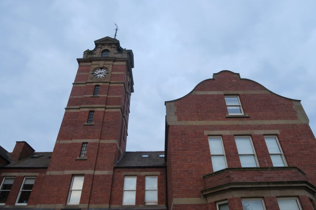 The clock tower at the old workhouse.