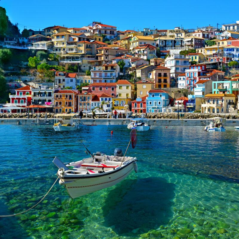 The coast of Corfu in the Diapontia Islands in Greece.