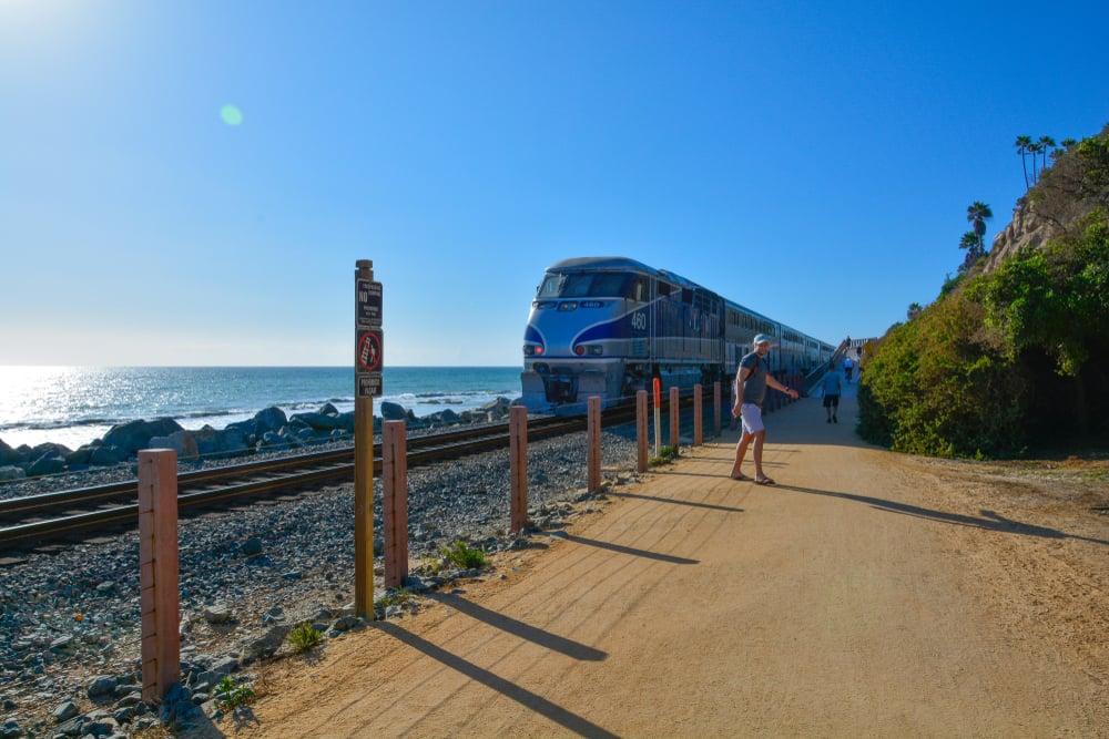 The Coast Starlight train in California.