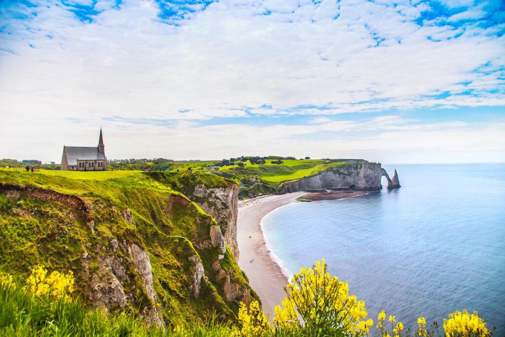 The coastline of Etretat, France.