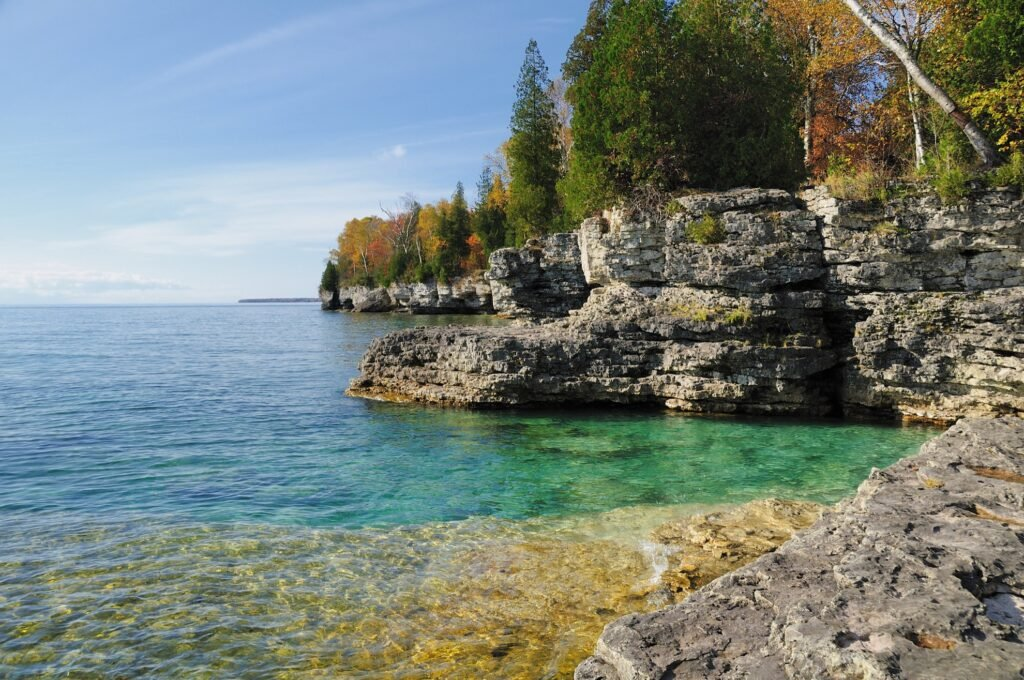The coastline of Lake Michigan in Door County.