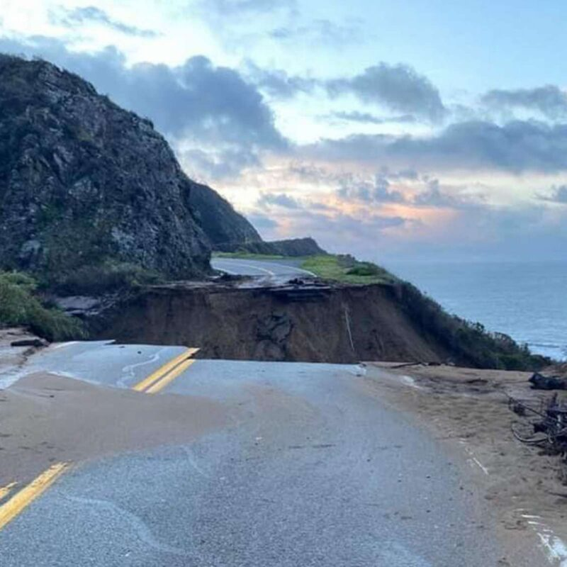 The collapsed portion of California's Highway 1.