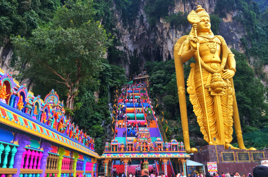 The colorful stairs at Batu Caves.