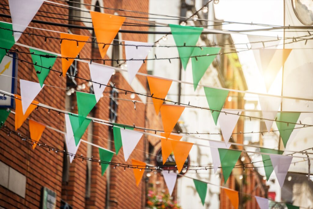 The colors of the Irish flag in Dublin.