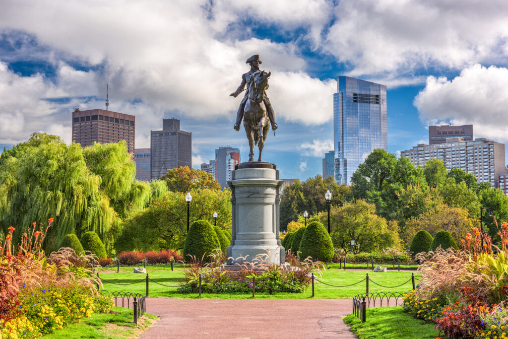 The Commons and Public Gardens in downtown Boston.