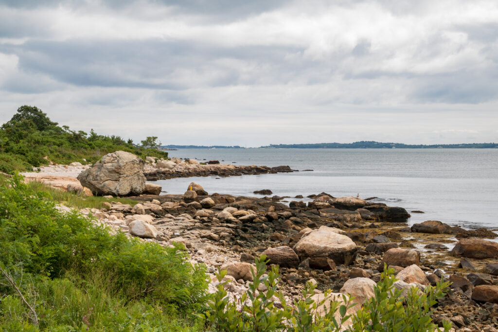 The Connecticut coastline in Bluff Point State Park.