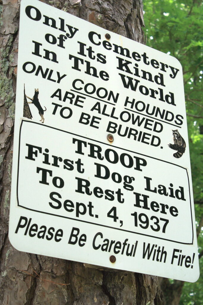 The Coon Dog Cemetery in Cherokee, Alabama.