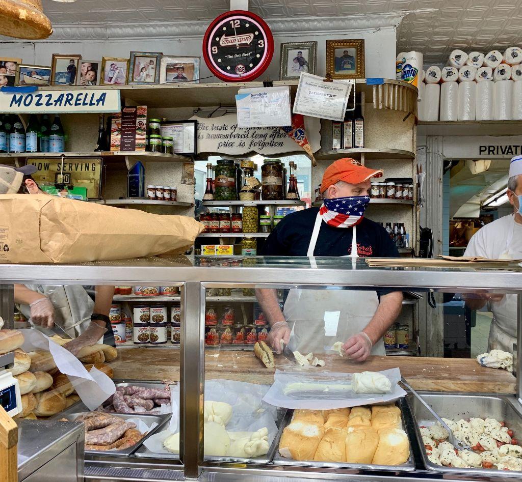 The counter at Fiore's Deli in Hoboken.