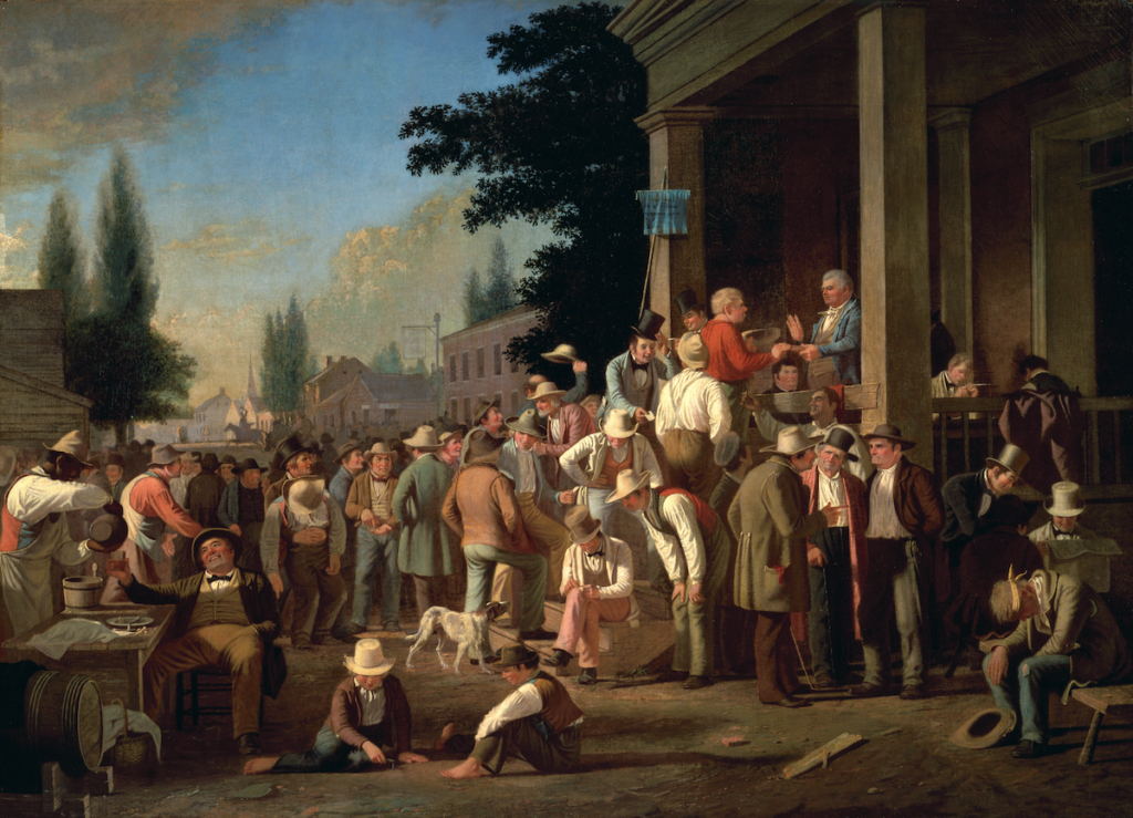 """""""The County Election"""" by George Caleb Bingham (1851-2)."""