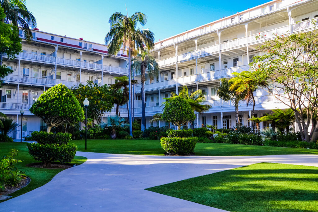The courtyard at the Hotel del Coronado in California.