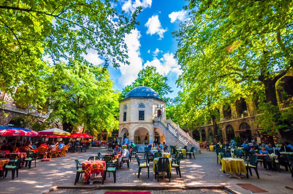 The courtyard of Koza Han in Bursa, Turkey.
