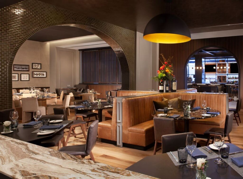 The cozy interior of Sky Creek Kitchen and Bar.