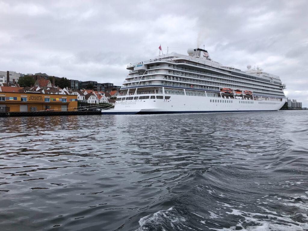 The cruise ship docked.