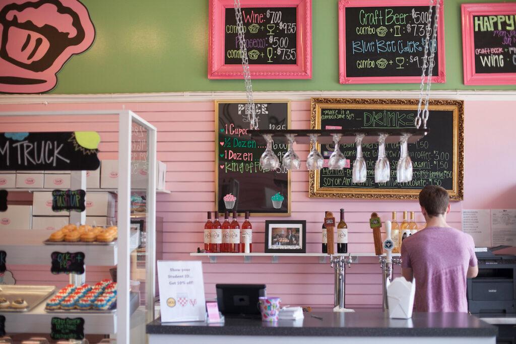 The cupcake bar at Carytown Cupcakes.