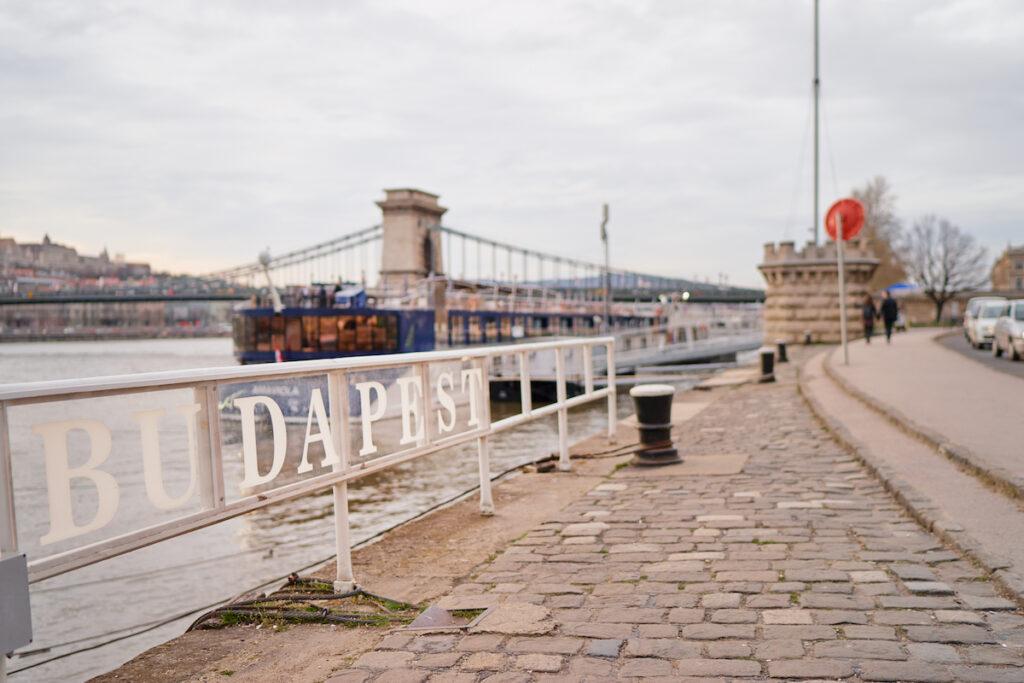The Danube Promenade in Budapest, Hungary.