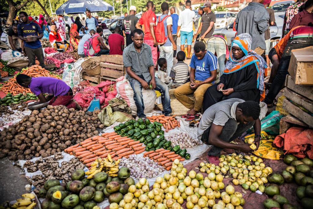 The Darajani Market in Stone Town, Zanzibar.