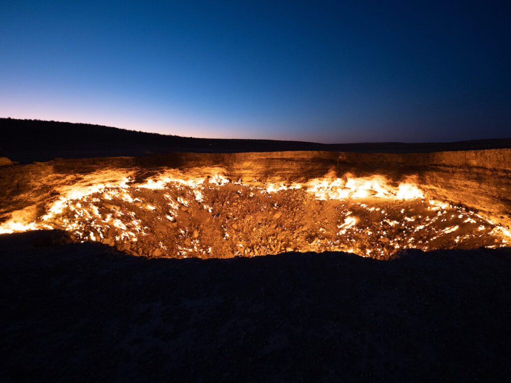 The Darvaza Gas Crater in Turkmenistan.