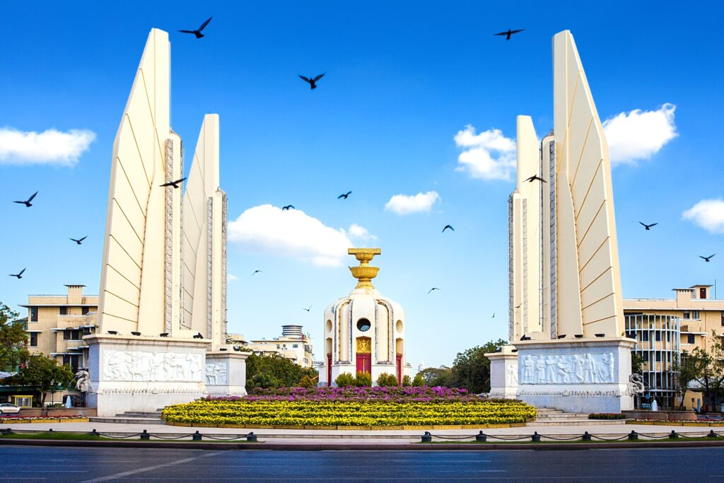 The Democracy Monument in Bangkok, Thailand.