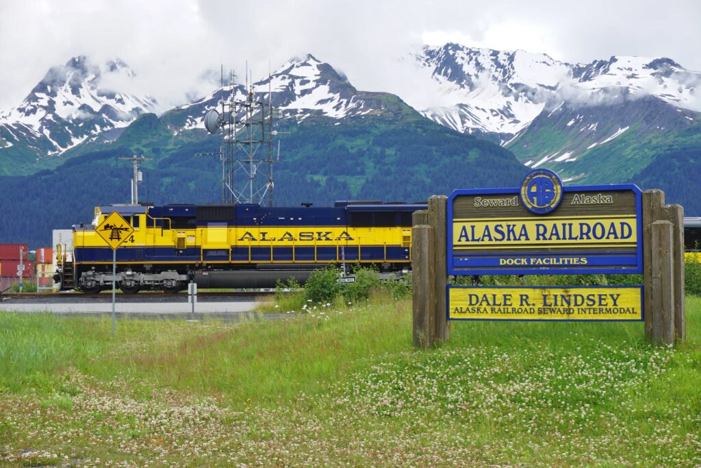 The Denali Star train on the Alaskan Railroad.