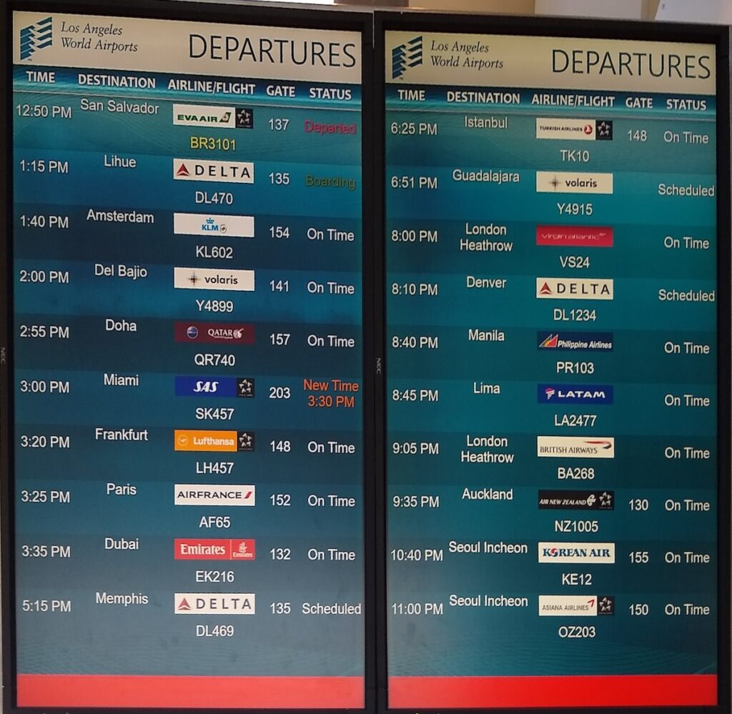 The departure monitor at the Los Angeles Airport.