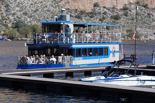 The Desert Belle riverboat on Saguaro Lake.
