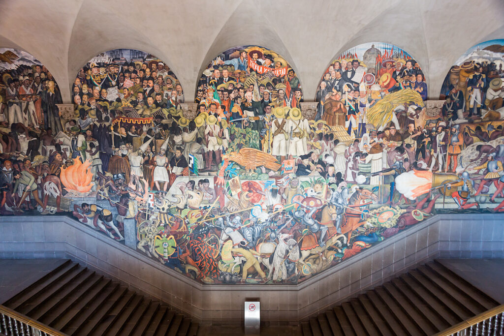 The Diego Rivera murals at the National Palace in Mexico City.