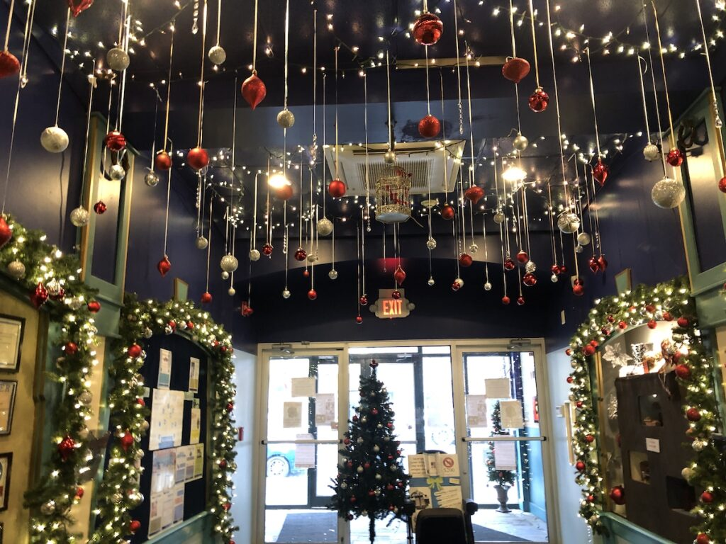 The Dietrich Theater, decorated for Christmas.