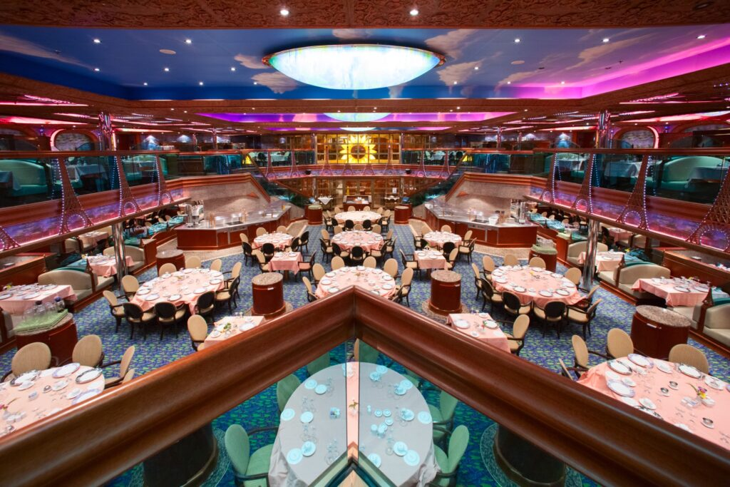 The dining room aboard a Carnival cruise ship.