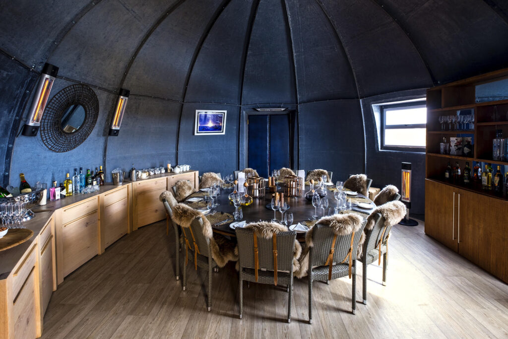 the dining room at the white desert hotel in antarctica
