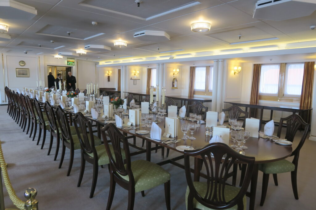 The dining room on the Royal Yacht Britannia.