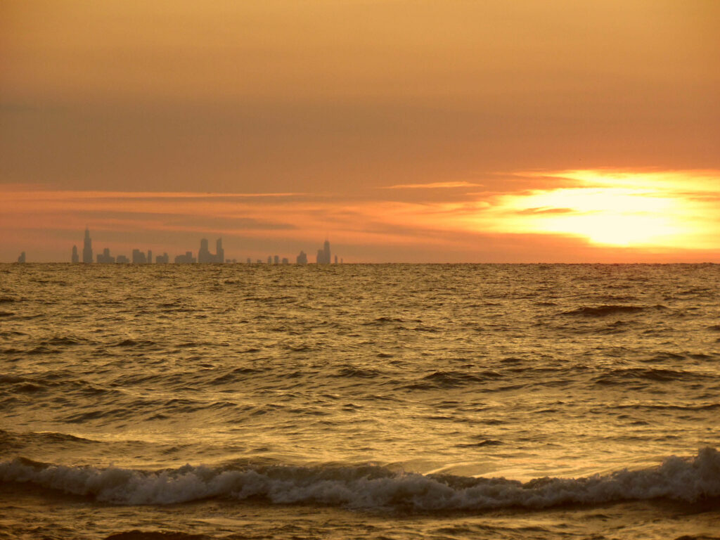 The distant Chicago skyline from Indiana Dunes National Park.