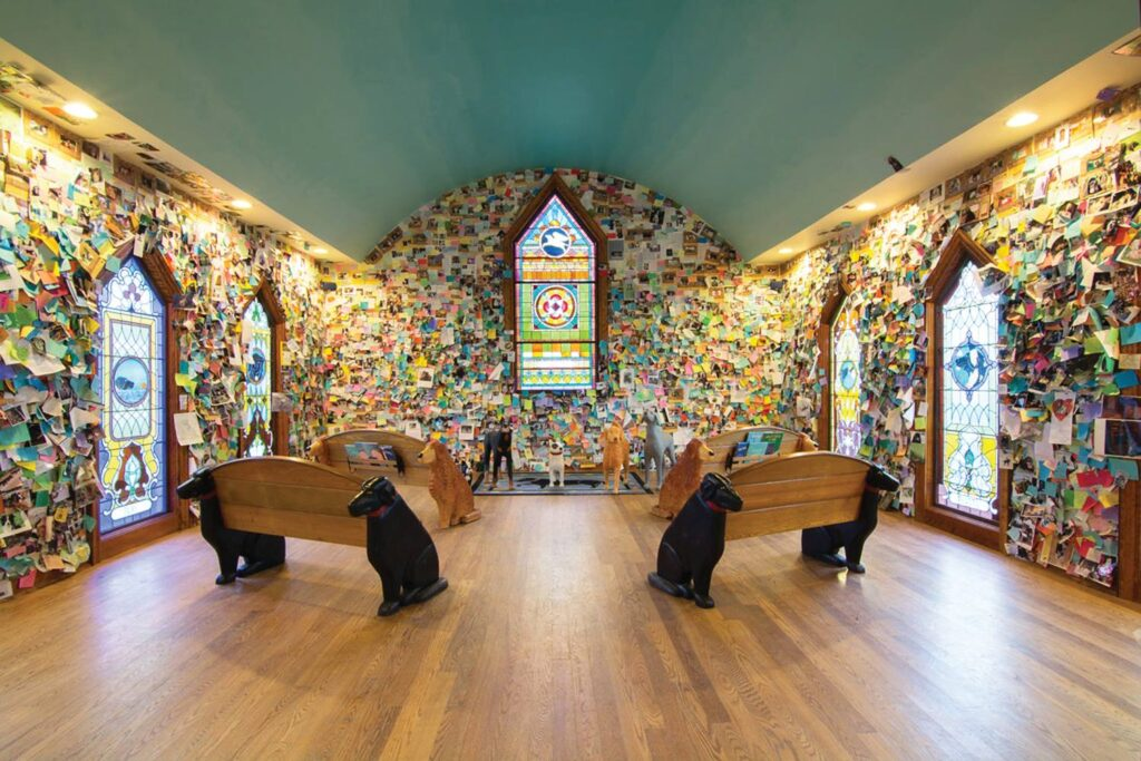 The Dog Chapel at Dog Mountain in Vermont.
