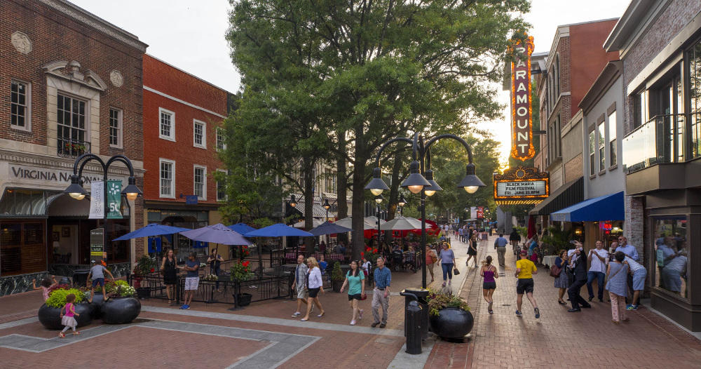 The downtown pedestrian mall in Charlottesville.