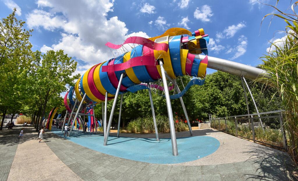 The dragon slide in Parc de la Villette.