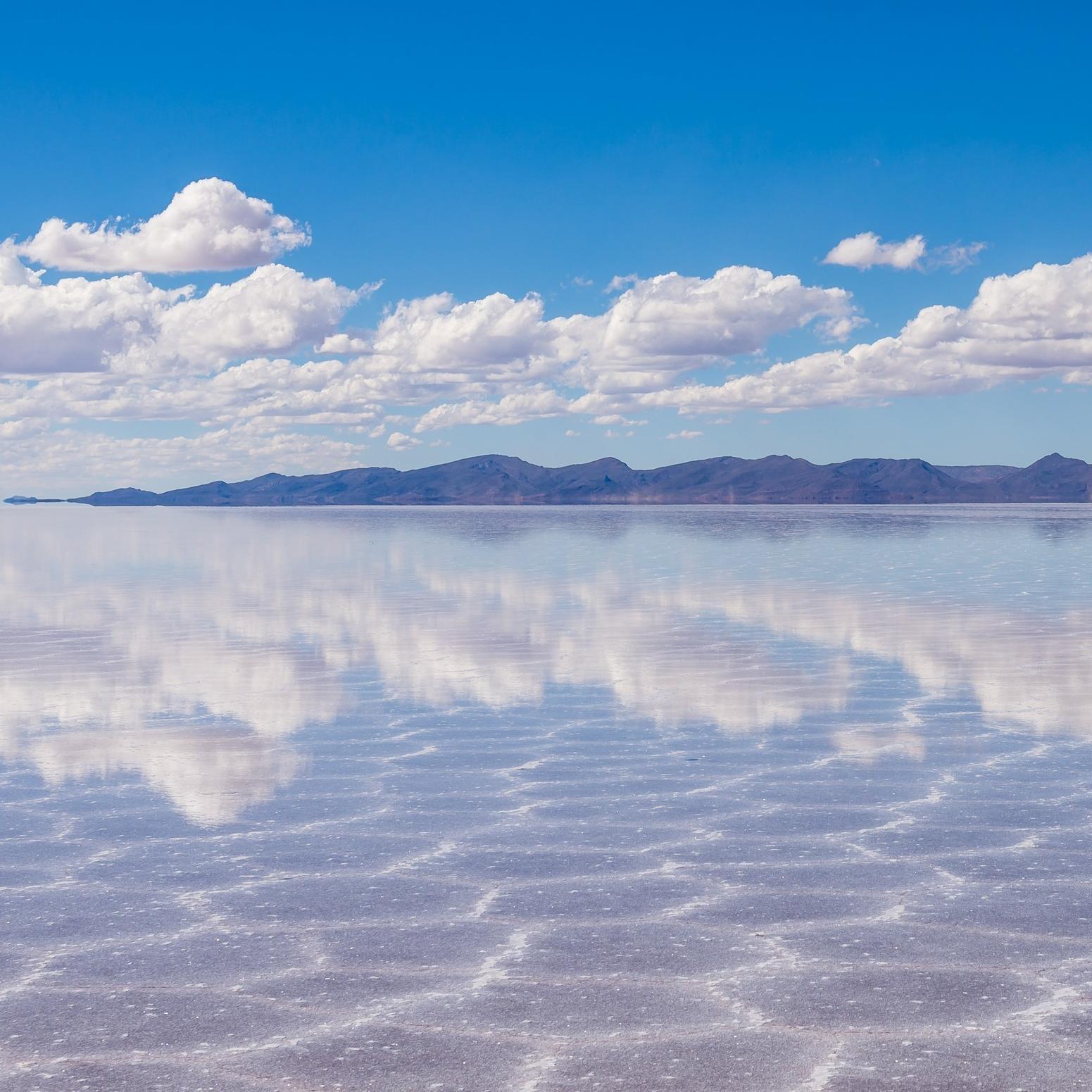 The dreamy Uyuni Salt Flats in Bolivia.