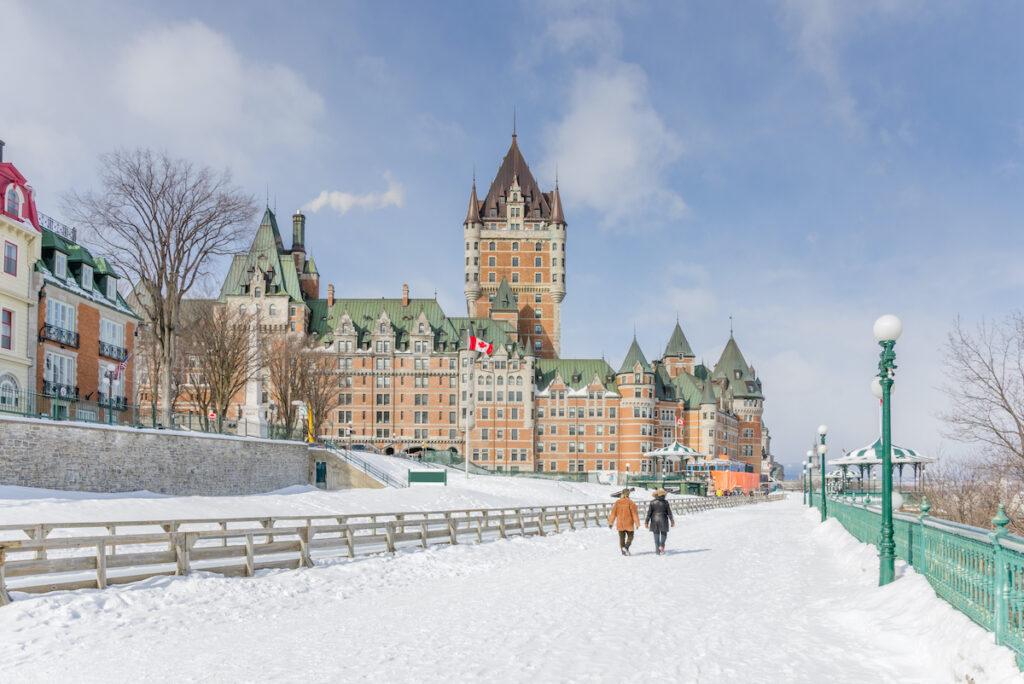 The Dufferin Terrace in Quebec City during winter.