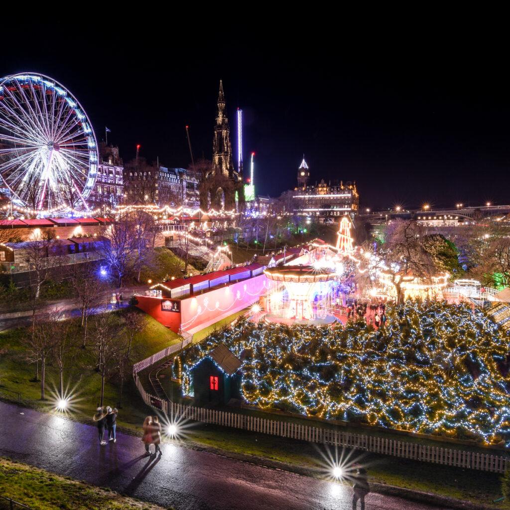 The Edinburgh Christmas Market in Scotland.