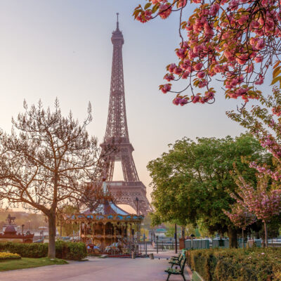 The Eiffel tower during spring time in Paris, France.
