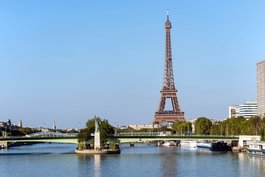 The Eiffel Tower with Ile aux Cygnes in the foreground.