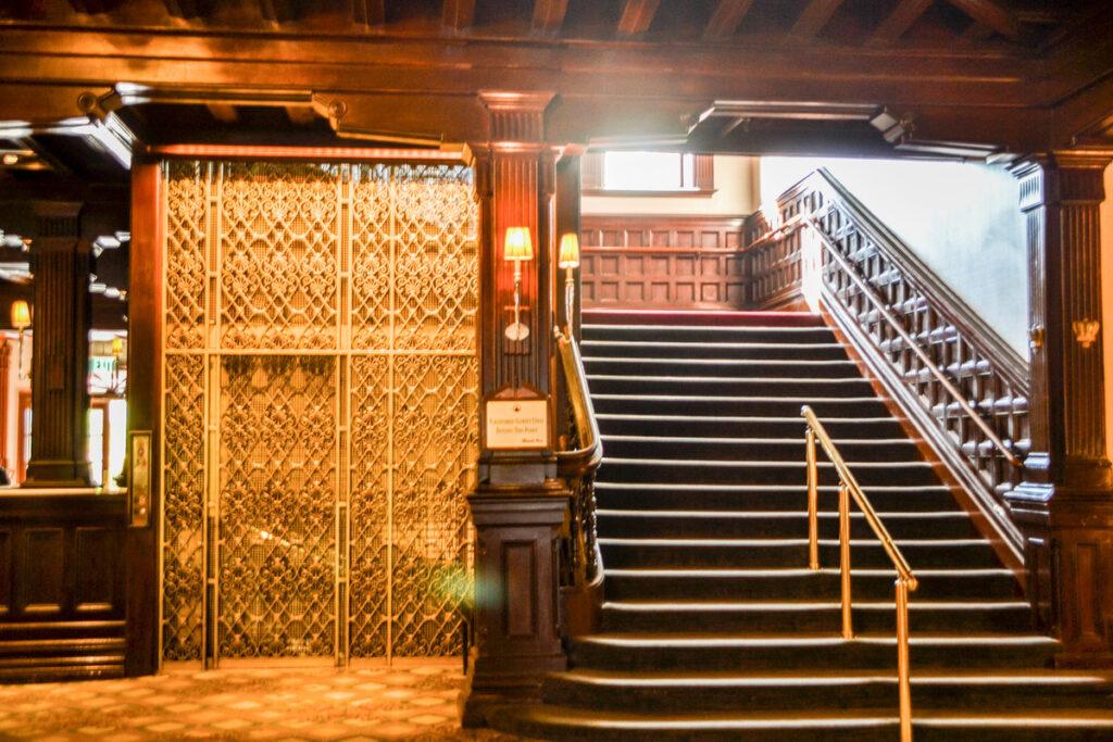 The elevator and staircase at the Hotel del Coronado in California.