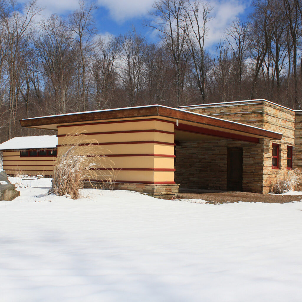 The Emil Bach House, designed by Frank Lloyd Wright.