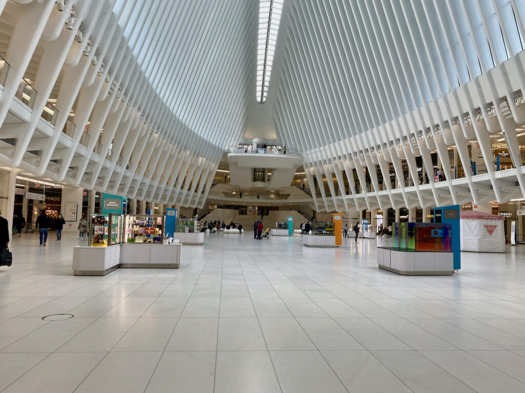 The empty Oculus mall in New York City.